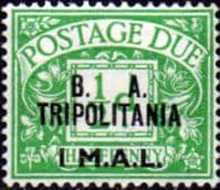 British Post Offices Tripolitania 1950 Post Due Overprinted BA SG TD 6 Fine Mint