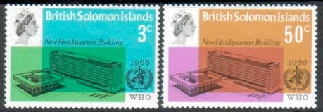 Stamps British Solomon Island 1966 World Health Organisation Set Fine Mint