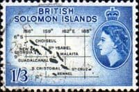 British Solomon Islands 1956 SG 91b Map Fine Used