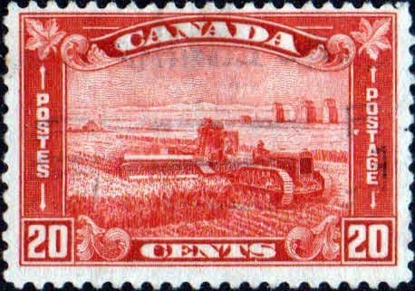 Canada 1930 SG 301 Harvesting with Tractor Fine Used