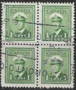 Canada 1942 SG 375 King George in Naval Uniform Good Used Block of 4