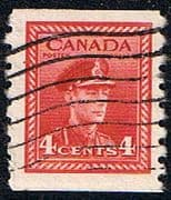 Canada 1942 SG 393 King George in Military Uniform Coil Stamps Fine Used