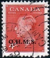 Canada Stamps 1950 SG O175 Official Overprint O H M S Fine Used Scott O15