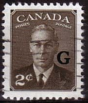 """Canada 1950 SG O179 Official Overprint """"G"""" Fine Used"""