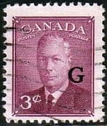 "Canada 1950 SG O181 Official Overprint ""G"" Fine Used"