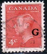 Canada Stamps 1950 SG O182 Official Overprint G