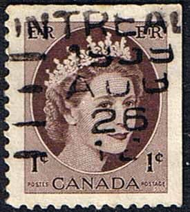 Canada 1953 SG 463a Queen Elizabeth Head From Booklet Fine Used