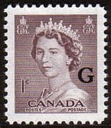 "Canada 1953 SG O196 Official Overprint ""G"" Fine Mint"