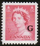 "Canada 1953 SG O198 Official Overprint ""G"" Fine Mint"