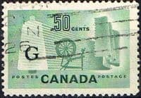 "Canada 1953 SG O201a Official Overprint ""G"" Fine Used"