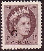 "Canada 1955 SG O202 Official Overprint ""G"" Fine Mint"