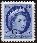 "Canada 1955 SG O205 Official Overprint ""G"" Fine Mint"
