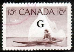 """Canada 1955 SG O206 Official Overprint """"G"""" Fine Used"""