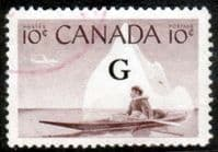 "Canada 1955 SG O206 Official Overprint ""G"" Fine Used"