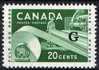 "Canada 1955 SG O207a Official Overprint ""G"" Fine Mint"