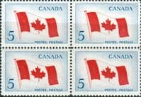 Canada 1965 Inauguration of National Flag Fine Mint Block of 4