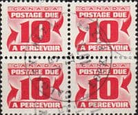 Canada 1969 Postage Due D39 Block of 4 Fine Used
