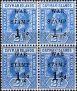 Cayman Islands 1917 War Stamp Surcharge SG 54 Fine Mint Block of 4