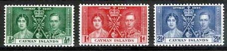 Cayman Islands 1937 King George VI Coronation Stamps