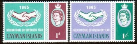 Postage Stamps of Cayman Islands 1965 International Co-operation Year Set Fine Mint