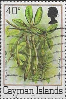 Cayman Islands 1980 Flora and Fauna Lizard and Phyciodes SG 521B Red Mangrove seeds Fine Used