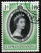 Cayman Islands Queen Elizabeth II 1953 Coronation Fine Used