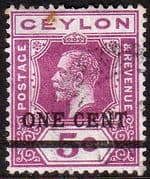 Ceylon 1918 Surcharged One Cent SG 337 Fine Used