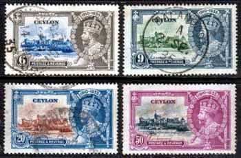 Ceylon Stamps 1935 King George V Silver Jubilee Set Fine Used