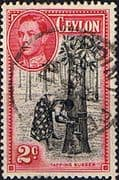 Ceylon 1938 King George VI SG 386b Tapping Rubber Fine Used