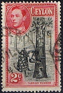 Ceylon 1938 King George VI SG 386c Tapping Rubber Fine Used