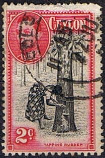 Ceylon 1938 King George VI SG 386d Tapping Rubber Fine Used
