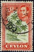 Ceylon 1938 King George VI SG 387f Cocconut Palms Fine Used
