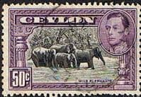 Ceylon 1938 King George VI SG 394 Wild Elephants Fine Used