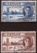 Ceylon 1946 King George VI Victory Set Fine Used