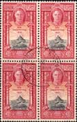 Ceylon 1947 King George VI SG 403 New Constitution Block of 4 Fine Used