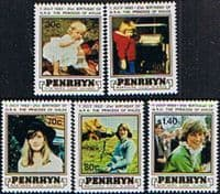 Cook Islands Penrhyn Island 1982 Princess Diana 21st Birthday Set Fine Mint