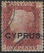 Cyprus 1880 Queen Victoria 1d Red Overprint SG 2 (Pl. 215) Fine Used