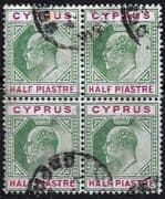 Cyprus 1902 King Edward VII SG 50 Fine Used Block of 4