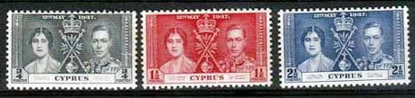 Cyprus 1937 King George VI Coronation Stamps
