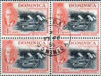 Dominica 1951 King George VI SG 121 Drying Cocoa Fine Used Block of 4