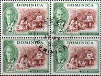 Dominica 1951 King George VI SG 122 Fine Used Block of 4