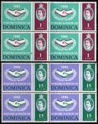 Dominica 1965 International Co-operation Year Set Fine Mint Block of 4