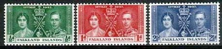 Falkland Islands Postage Stamps 1937 King George VI Coronation