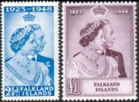 Falkland Islands 1948 King George VI Royal Silver Wedding Set Fine Mint