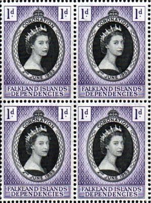 Falkland Islands Dependecies Stamps Queen Elizabeth II 1953 Coronation Stamps