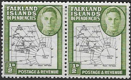 Falkland Islands Dependencies 1946 Map SG G1a Gap in 80th Parallel Pair with one Normal Fine Mint