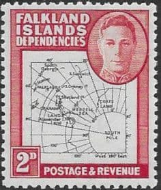 Falkland Islands Dependencies 1946 Map SG G3a Gap in 80th Parallel Normal Fine Mint
