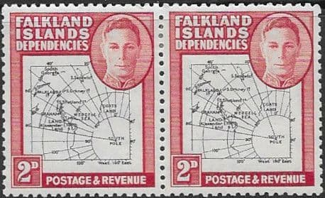 Falkland Islands Dependencies 1946 Map SG G3a Gap in 80th Parallel Pair with one Normal Fine Mint