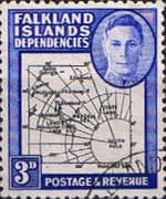 Falkland Islands Dependencies 1946 Map SG G4 Fine Used