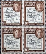 Falkland Islands Dependencies 1946 Map SG G7 Fine Mint Block of 4